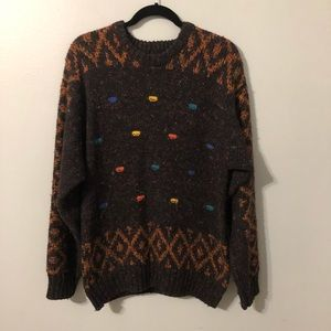 Interim Men's Gray Sweater with Colorful Dots